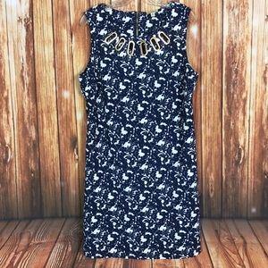 Haani Navy Floral Gold Hardware Cutout Shift Dress